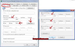 Setting Proxy di menu IDM Configuration