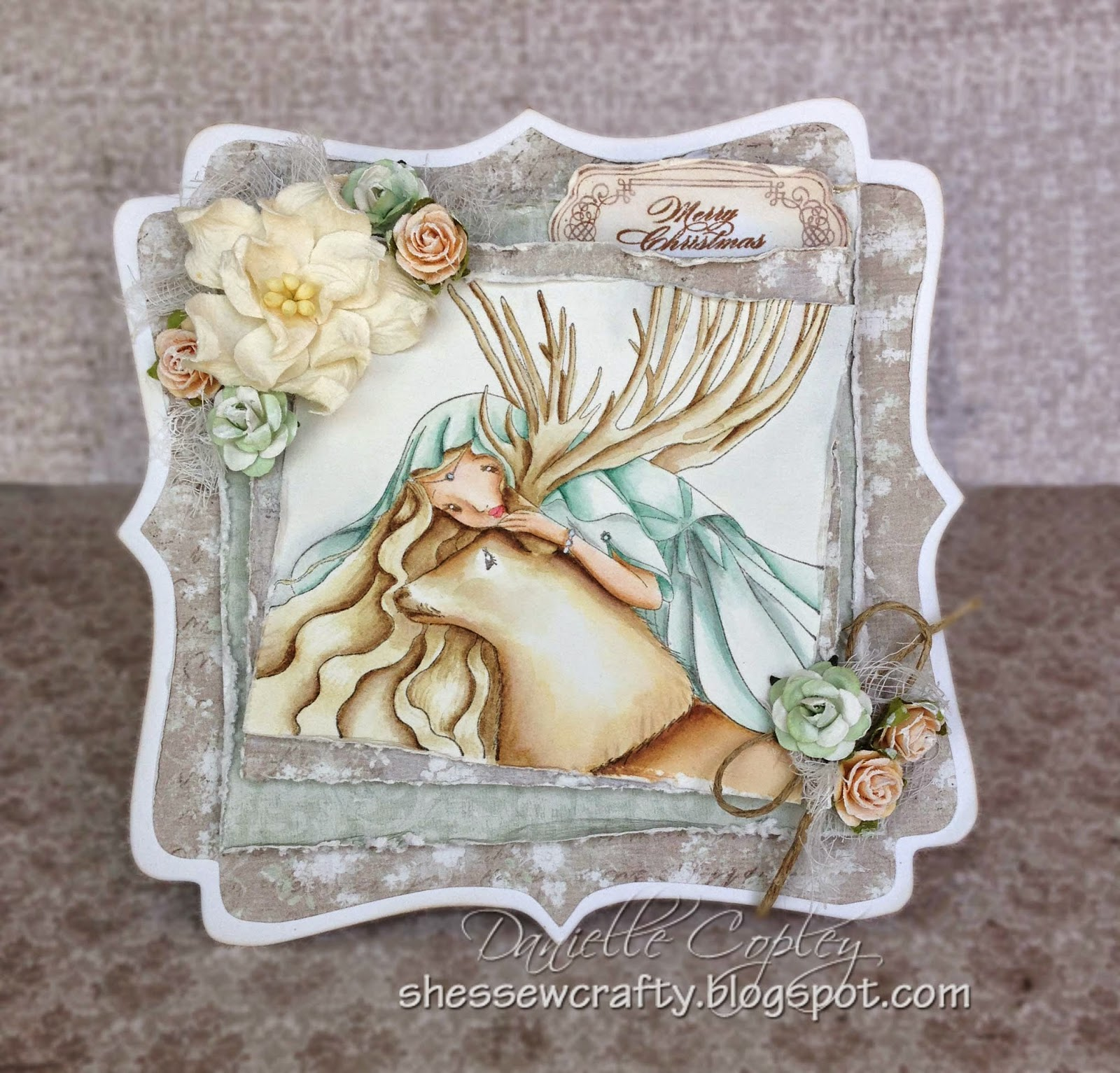 Christmas winter card using Whimsy's Cathy Delanssay In the Wood stamp with Maja Vintage Spring Basics paper for Scrapbook Maven