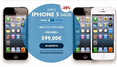 Nel sito commerciale TIM, nella sezione Outlet, troviamo l'iPhone 5 64 GB con uno sconto del 38%!