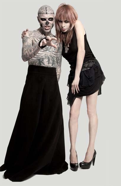 Rick Genest, aka Zombie Boy, e a transsex Sophia Lamar (Foto: Divulgação)