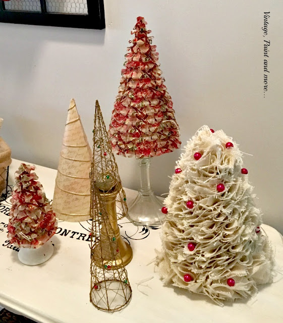 diy trees with ribbon, burlap and paper