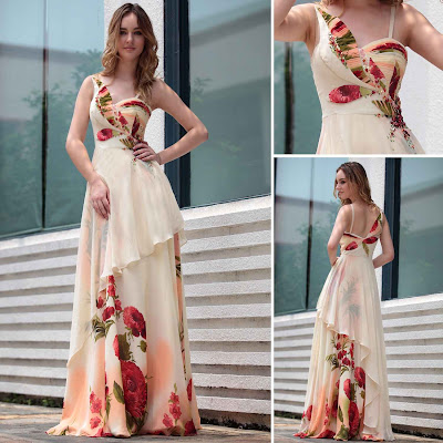 Print Sweetheart Floor Length Dress