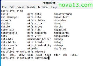 cara memformat partisi hardisk dengan terminal konsole di Linux