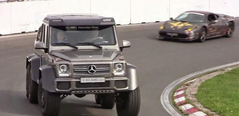 【動画】「メルセデスベンツG63 AMG 6×6」がスーパーカーと一緒にサーキットを走る!