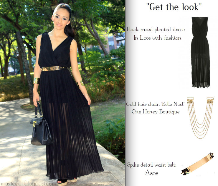 Black pleated dress maxi