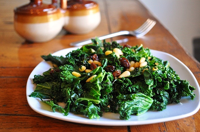 Sauteed Kale with Raisins & Pine Nuts (adapted from Cook's Illustrate...