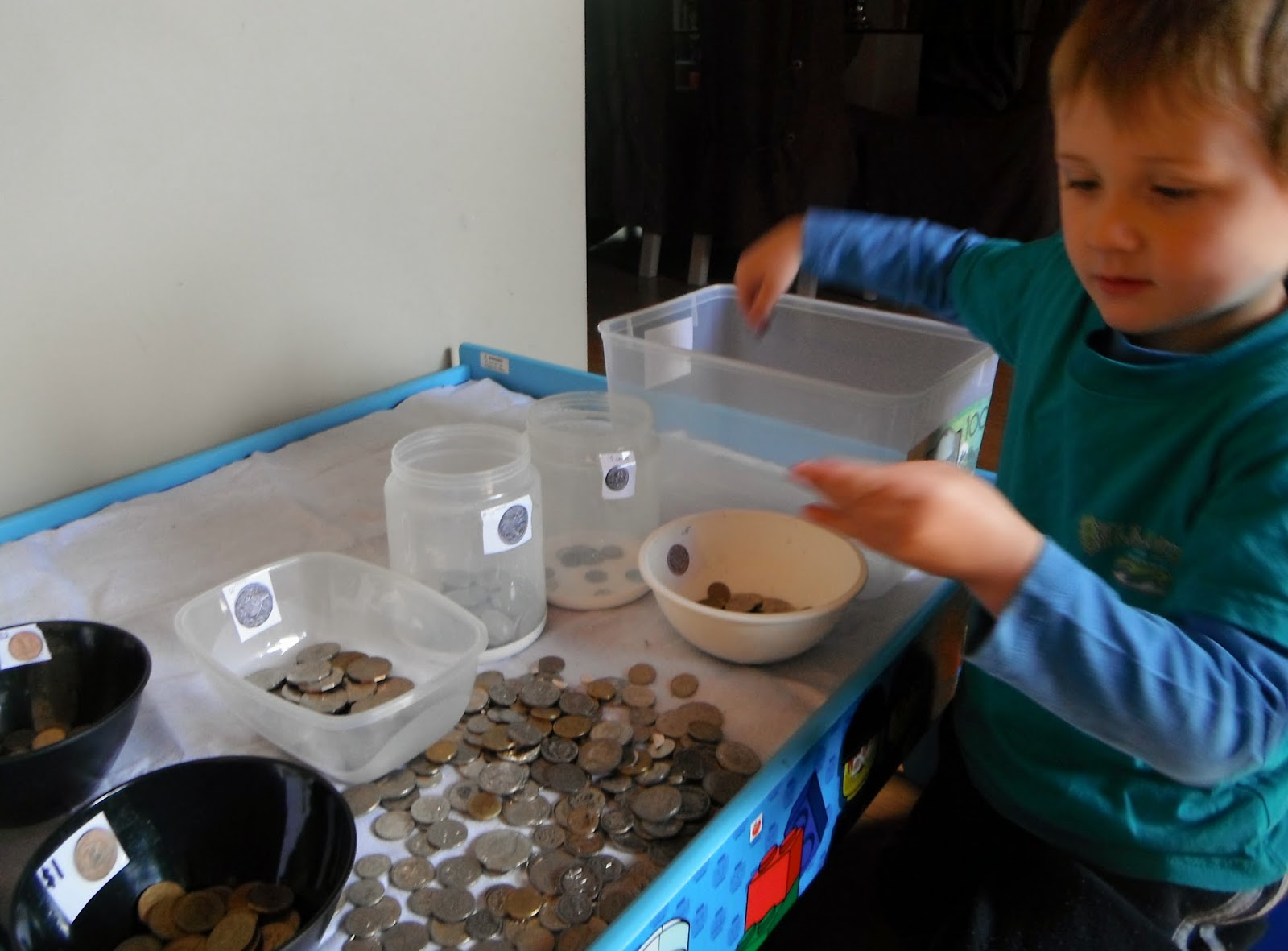 Adventures at home with mum the bank learning to sort Coin sorting bank for kids
