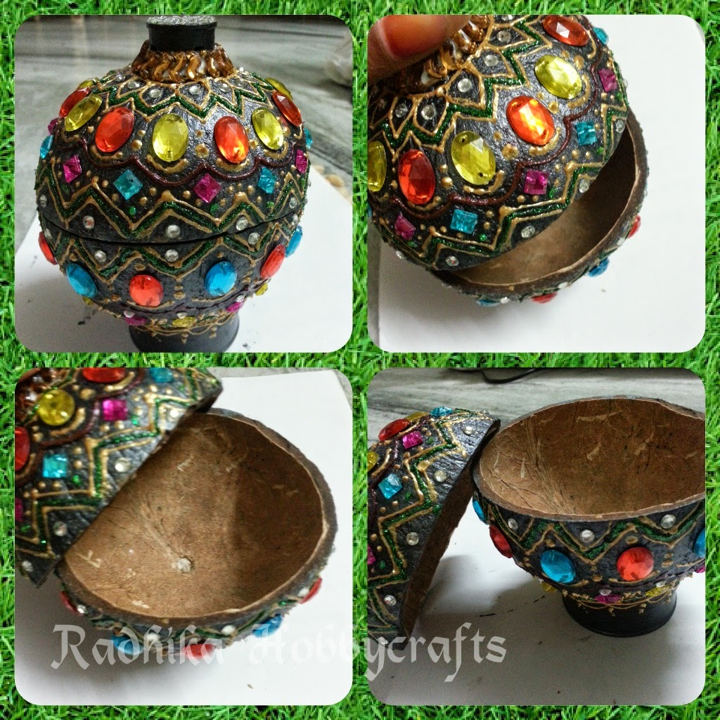 Hobby crafts coconut shell box for Creativity out of waste
