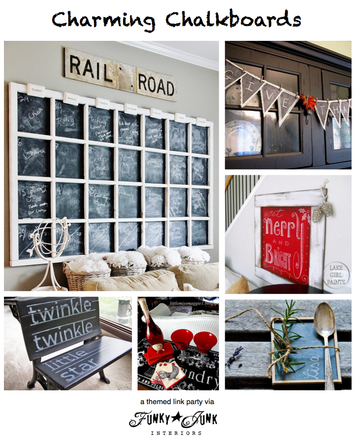 118 + CHARMING CHALKBOARDS, a themed linkup party via Funky Junk Interiors. This linkup is always open so come on over and link yours!