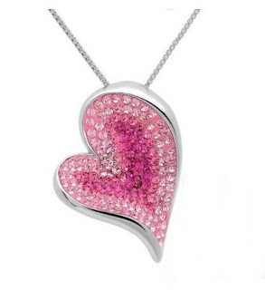Pink Crystal Heart Pendant