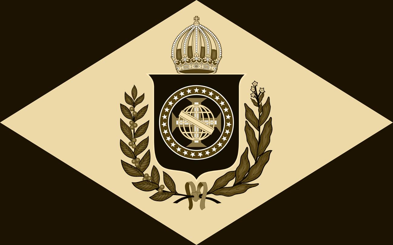 Bandeira do Brasil Império atualizada com 27 estrelas - Modelo 10 X 16 - Monocromático em Sépia