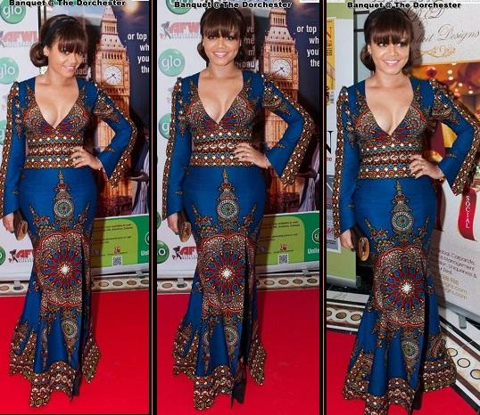 nadia buari wearing ankara dress
