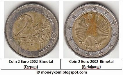 Uang Kuno Euro Coins 2 Euro 2002 Jerman Uang Kuno Kertas Logam