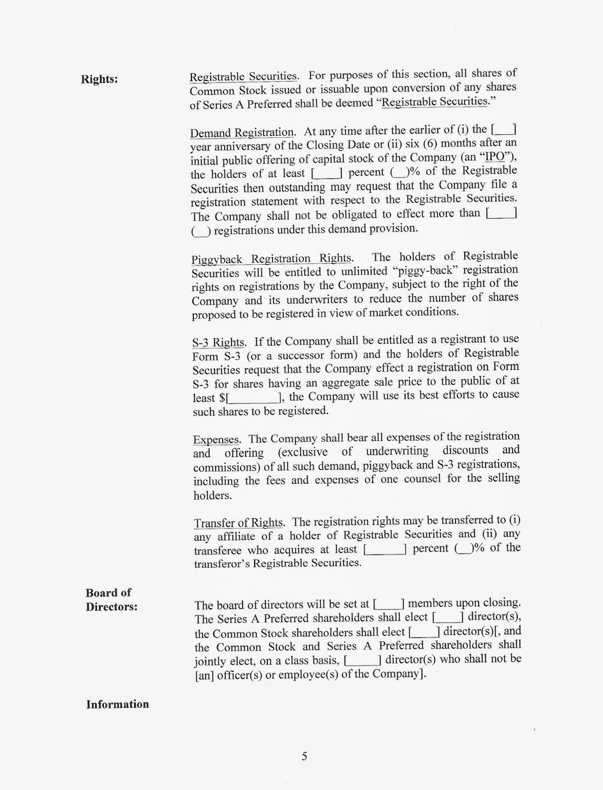 Stunning Vc Term Sheet Template Ideas - Examples Professional Resume ...