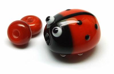 Lampwork glass ladybird bead