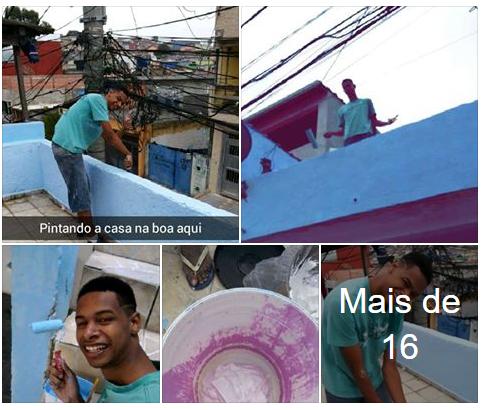Facebook: Antonio Vinicius pintando, muito feliz, a casa do tio