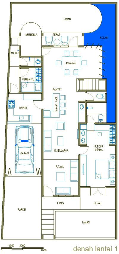 Denah Rumah Minimalis Mewah Lantai 1