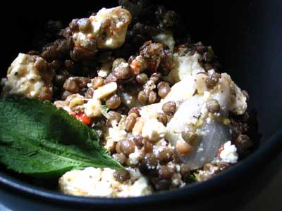 Puy Lentil, Feta and Roasted Red Pepper Salad