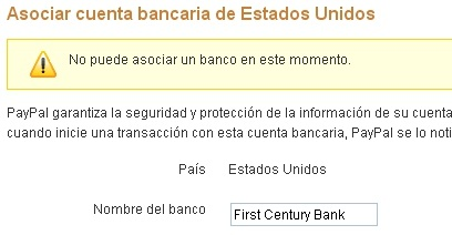 "Solucion ""No puede asociar un banco en este momento&amp"