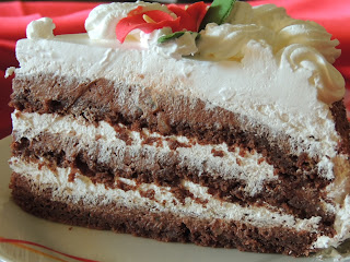 Cake with heavy chocolate filling
