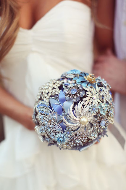 Blue and Clear Crystal Vintage Brooch Bridal Bouquet
