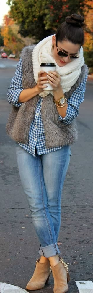 Fur jacket, White loop scarf And Mid calf booties