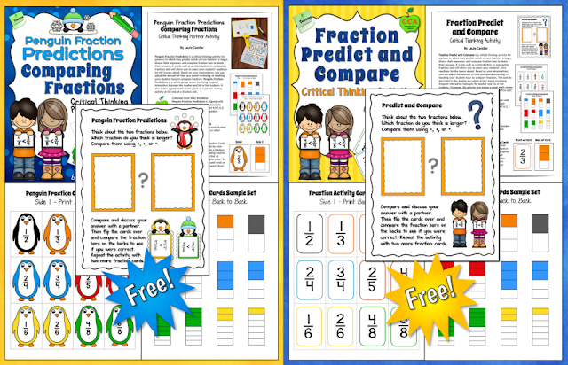 ree Comparing Fractions Partner Activities - Kids love these partner activities, and they generate some great discussions about how to compare fractions.