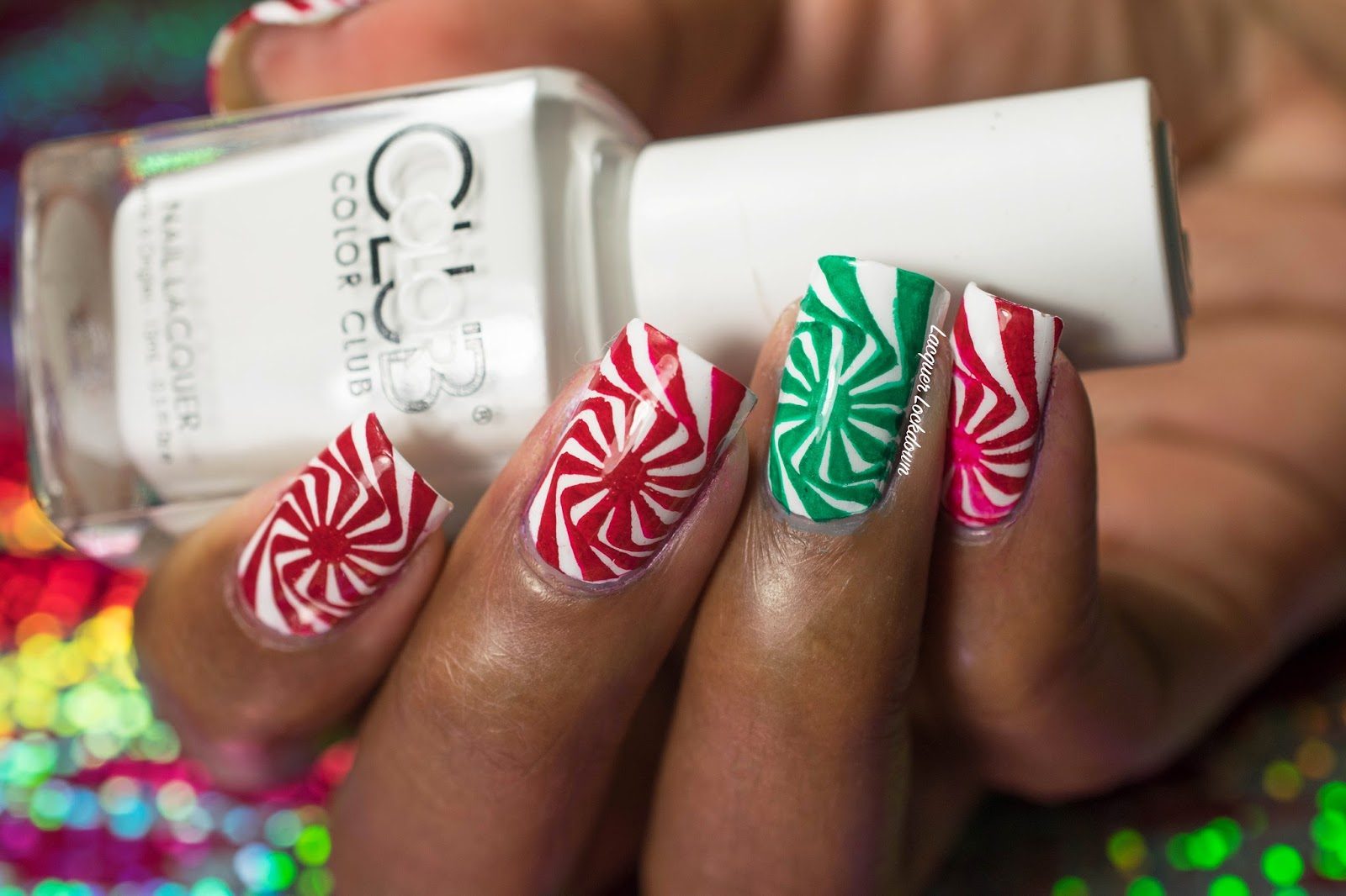 Lacquer Lockdown: Christmas Simples: MoYou London Candy Cane Swirl ...