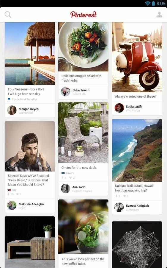 تطبيق بنتريست للتواصل Pinterest للاندرويد