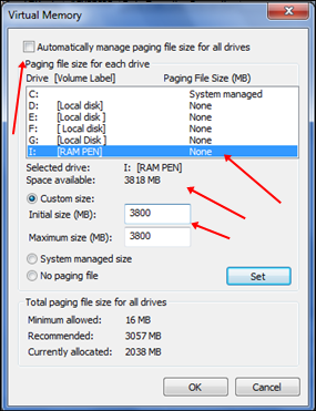 virtualrammemory - Increase Ram With USB PenDrive In Windows XP, 7 And 8