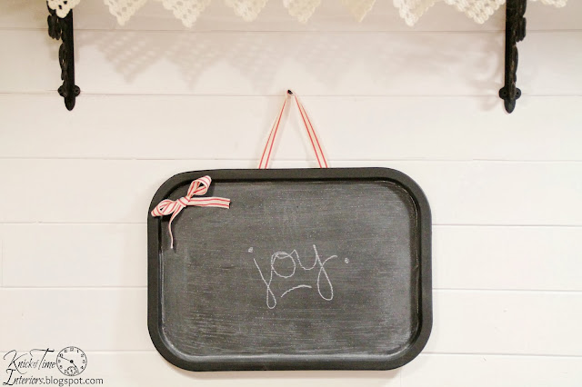 Repurposed metal tray into magnetic wall chalkboard via Knick of Time