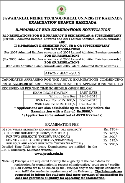 JnTu Kakinada  Bpharmacy 2-2 Regular, Supple Exam Fee Notification 2013