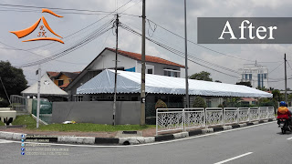 A custom design A Shape canopy 23' x 77' requested by our client at jalan gasing