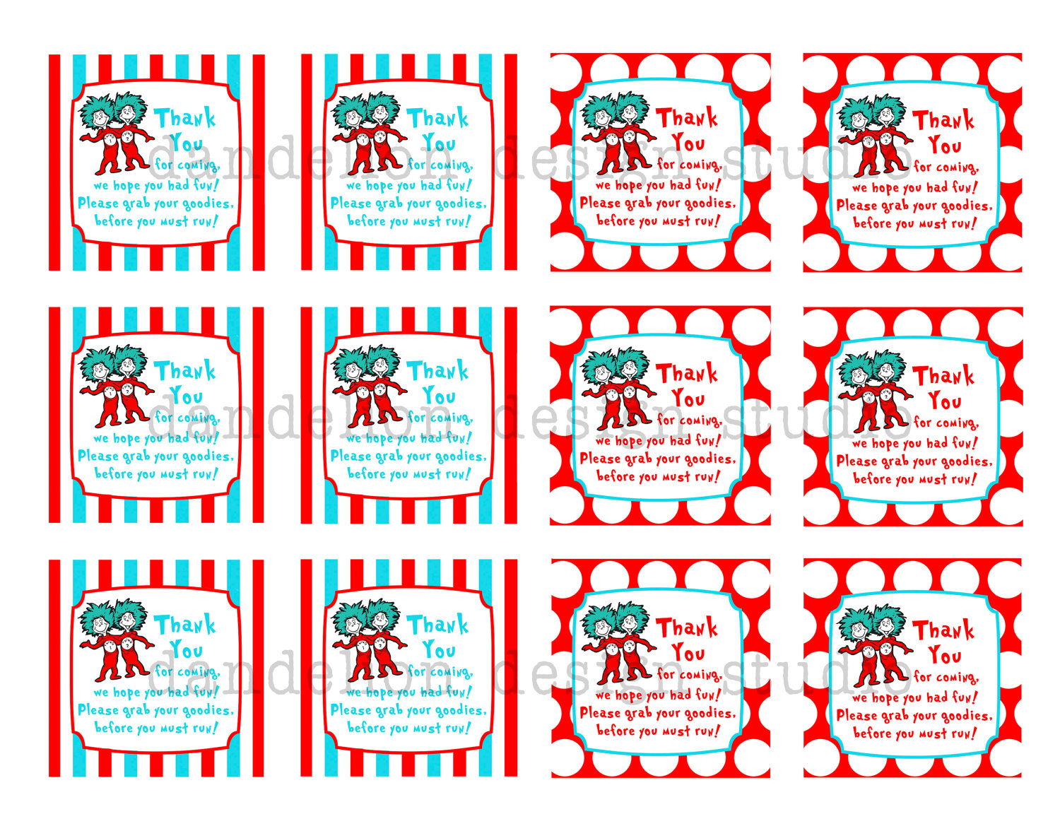 What fun Printable Favor Tags ! These Dr. Seuss Party Collection tags ...