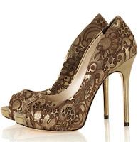 Karen Millen Gold Cutwork Peeptoe Shoe