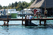 Dock construction by former restaurant La Trigueña which is now a dive shop. (dsc new dock near tigrena restaurante now dive shop on medina)
