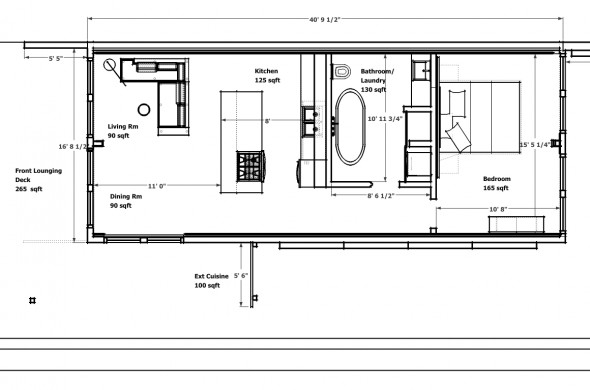 Design Container Home house container design 1 Bedroom 1 Bath