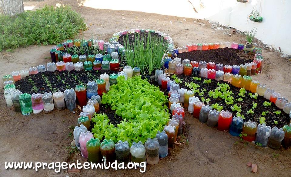 jardim horta e pomar educacao infantil:Para Reciclagem Com Garrafa Pet Horta