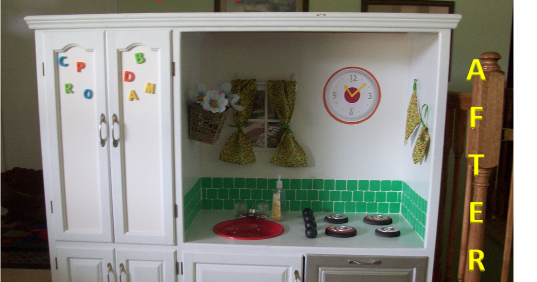 Entertainment center to play kitchen reduce reuse upcycle for How to reuse an entertainment center