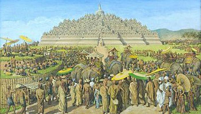ilustrasi upacara keagamaan di Borobudur. Terlihat adanya payung-payung yang dipakai oleh petinggi kerajaan. Karya: anonim (tidak diketahui)