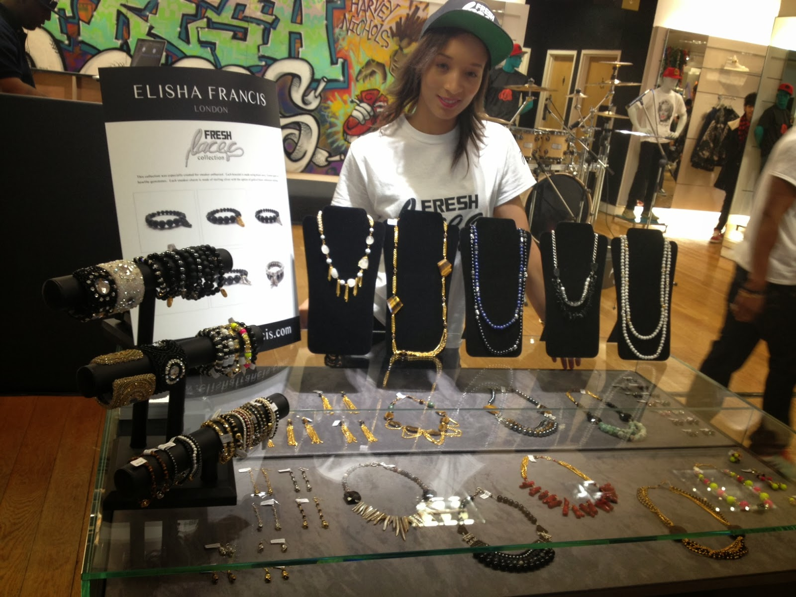 fresh laces, harvey nichols, manchester, elisha francis, sneaker event, jewelry