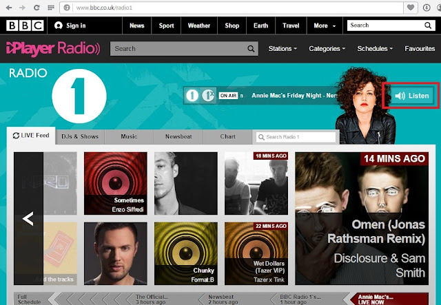 BBC radio 1 free radio station website's homepage