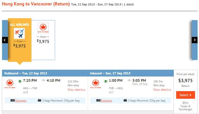 加拿大航空香港飛溫哥華 HK$3,975($連稅HK$4,886)