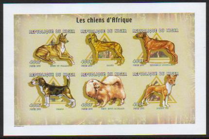 2000年ニジェール共和国 ファラオ・ハウンド サルーキ ローデシアン・リッジバック ビーグル スピッツ バセンジーの切手シート
