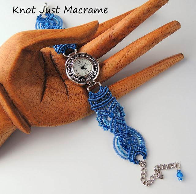 Capri blue Micro Macrame bracelet watch by Sherri Stokey