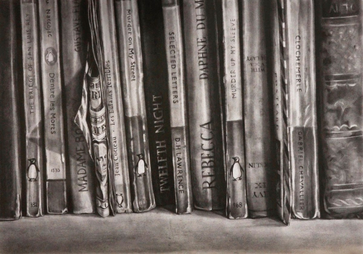 08-Amongst-the-Books-Kate-Brinkworth-Black-&-White-Photo-Real-Paintings-&-Drawings-www-designstack-co