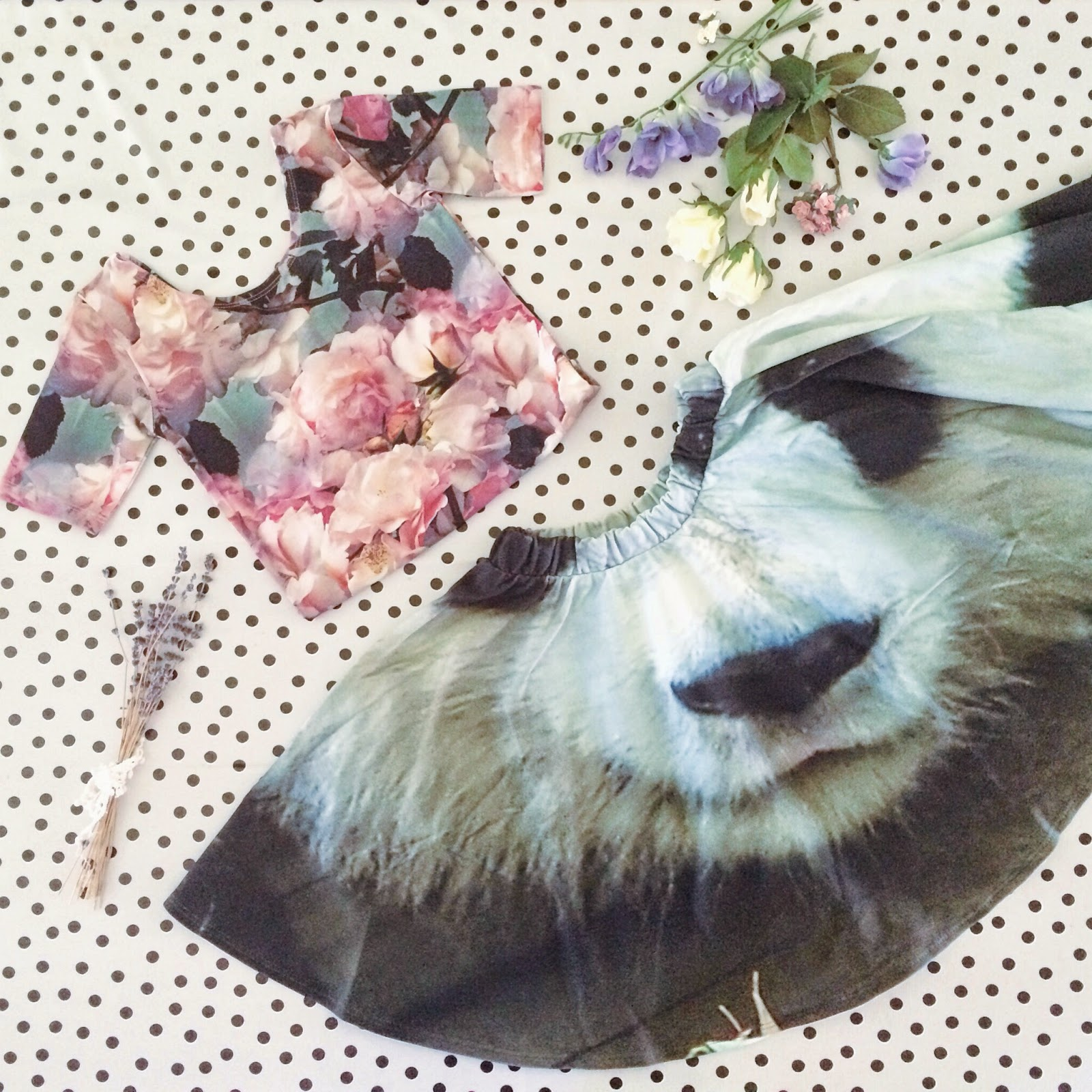 Popupshop panda skirt and floral gym piece, Cissy Wears