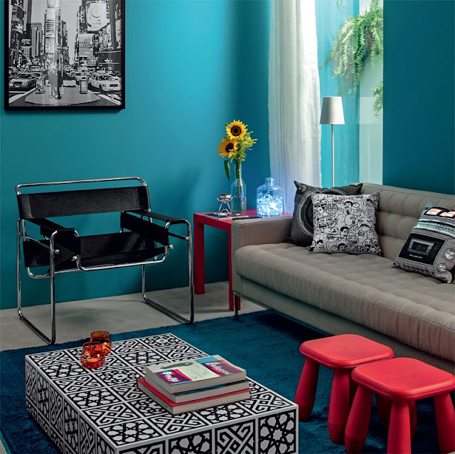 Sala De Jantar E Estar Azul ~ Repare que o jardim de inverno passa por trás da parede toda