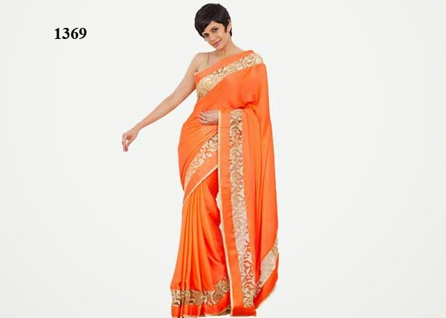 1369 - Mandira Bedi In Designer Orange Saree with Golden Border