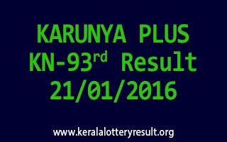 KARUNYA PLUS KN 93 Lottery Result 21-01-2016